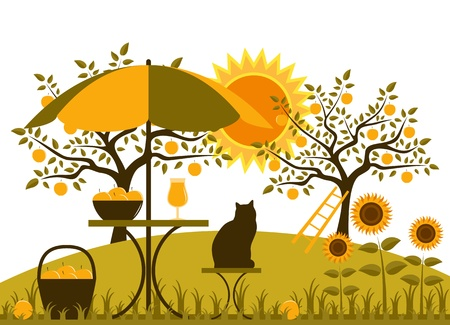 vector table with umbrella, basket of apples and sunflowers in garden