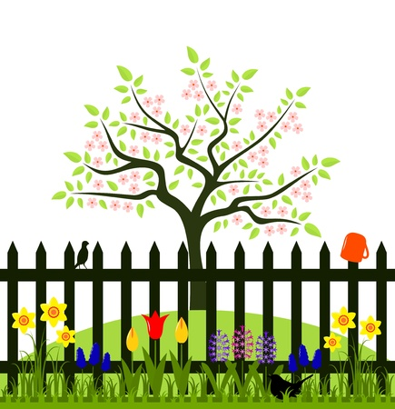 vector flowering tree and picket fence with spring flowers