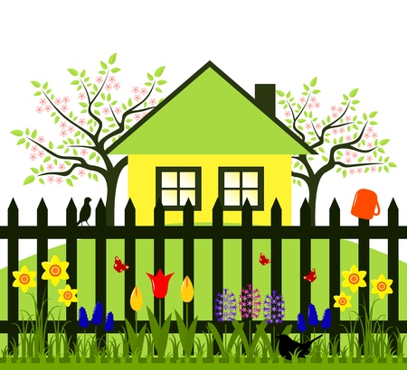 vector flowering trees, cottage and picket fence with spring flowers Vector