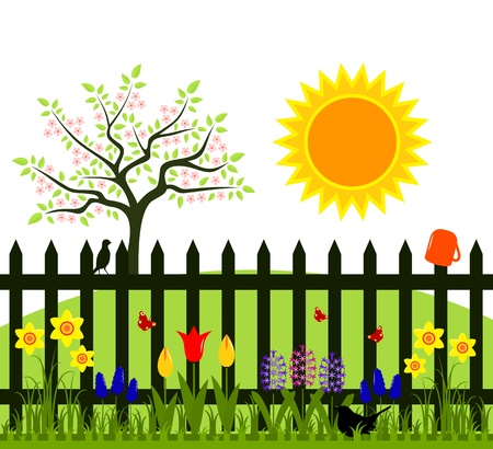 vector flowering tree and picket fence with spring flowers Vector