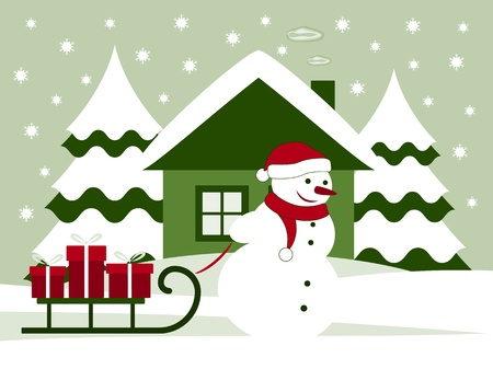vector snowman pulling sledge with gifts Vector