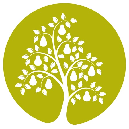 vector pear tree isolated on green round Vector