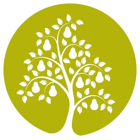 vector perenboom geïsoleerd op groene ronde