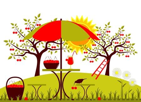 vector table with umbrella, basket of cherries and daisies in garden Stock Vector - 20295419