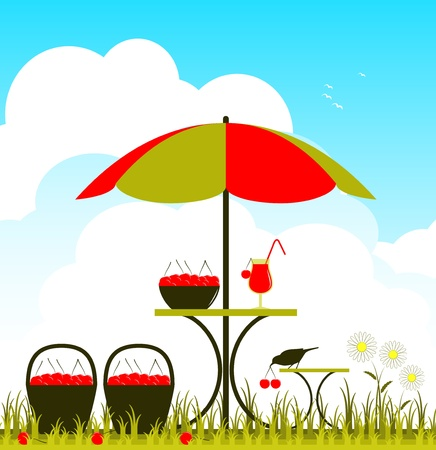 vector table with umbrella, cherry juice and cherries Vector