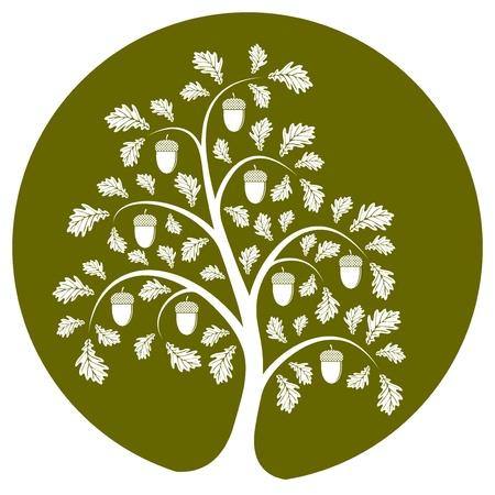 Oak tree isolated on green round Vector