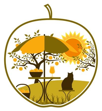 apple harvest scene in apple isolated on white background Stock Vector - 20673386