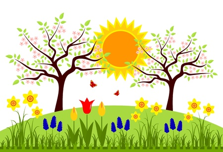 vector bed of spring flowers and flowering trees Stock Vector - 20824086
