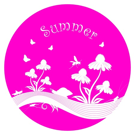 vector flowers and insects isolated on pink round Stock Vector - 20824089