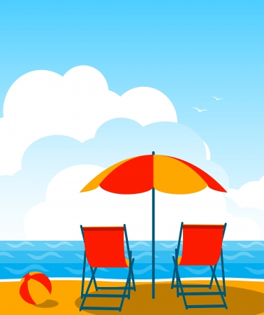 vector deck chairs under umbrella on the beach Vector