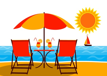 vector deck chairs under umbrella on the beach Stock Vector - 21071118