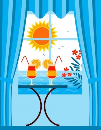 laurier rose: cocktails d'�t� et des lauriers en dehors de la fen�tre