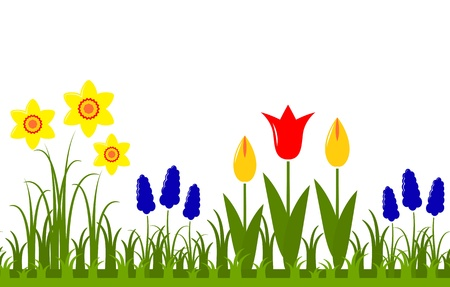 Seamless spring flowers border isolated on white background royalty seamless spring flowers border isolated on white background royalty free cliparts vectors and stock illustration image 21409660 mightylinksfo