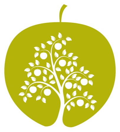 apple tree in apple on white background Vector