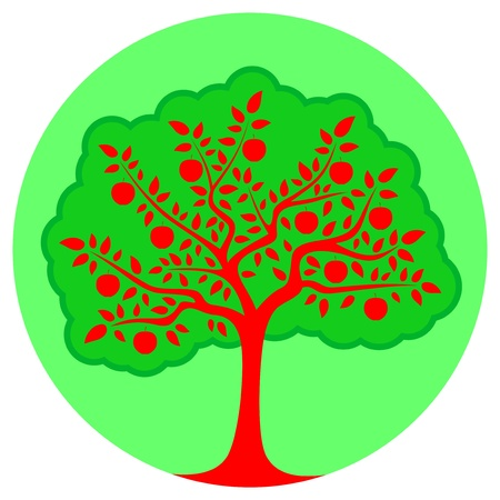 vector apple tree isolated on green round Vector