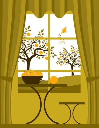 bovenaanzicht plant: vector appelboomgaard buiten het raam Stock Illustratie