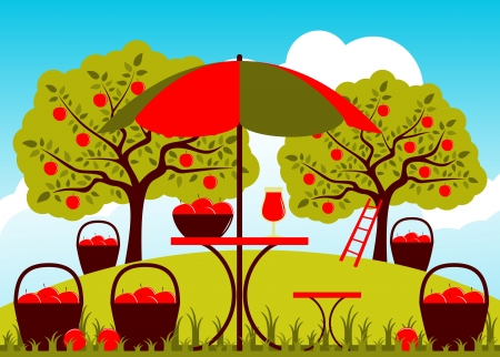 vector table with umbrella and baskets of apples in apple orchard Vector