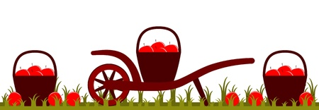 hand barrow and baskets of apples Vector