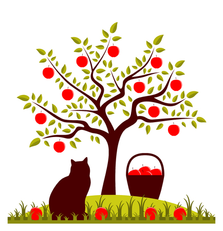 cats on appletrees apple tree basket of apples and cat vector fussmatte