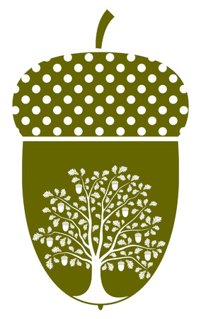 vector oak tree in acorn isolated on white background