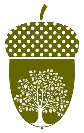 foglie di quercia: vettore albero di quercia nella ghianda isolato su sfondo bianco Vettoriali