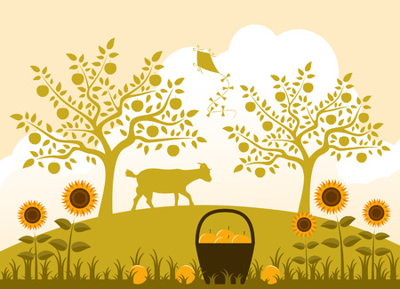 vector basket of apples, sunflowers and goat in garden Vector