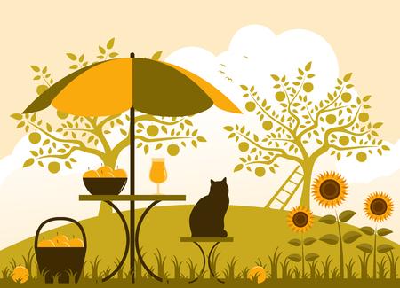 tabla de vectores con paraguas, cesta de manzanas y los girasoles en el jard?n