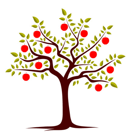 tree isolated: vector �rbol de manzanas aisladas sobre fondo blanco Vectores
