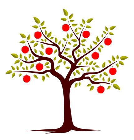 arbol de manzanas: vector árbol de manzanas aisladas sobre fondo blanco Vectores