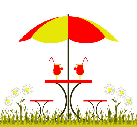 vector table with umbrella, drinks and daisies Vector