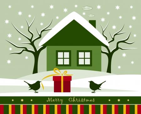 vector gift and birds in snowy garden Illustration