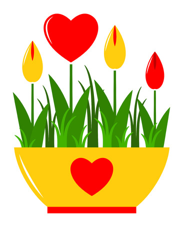 vector heart flowers in pot isolated on white  Vector