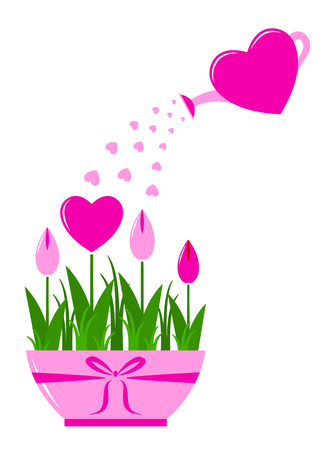 vector heart flowers in pot and heart watering can isolated on white  Illustration