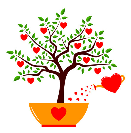 vector heart tree in pot and heart watering can isolated on white background Vector