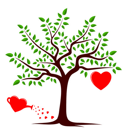 vector tree with one big heart and heart watering can isolated on white background Vector