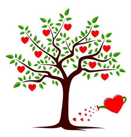 wektor drzewo serce i serce Konewka samodzielnie na białym tle Ilustracje wektorowe