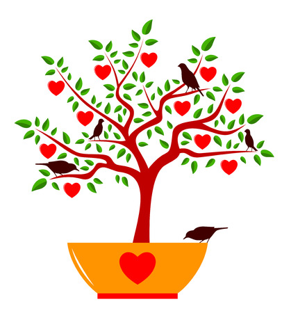 vector heart tree in pot and birds isolated on white background Vector