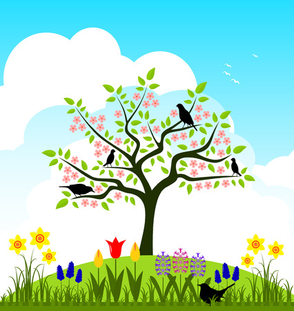 spring bed: vector bed of spring flowers and flowering tree with birds Illustration