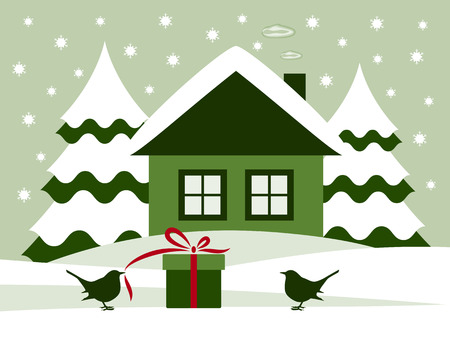 vector gift and birds in snowy landscape Vector
