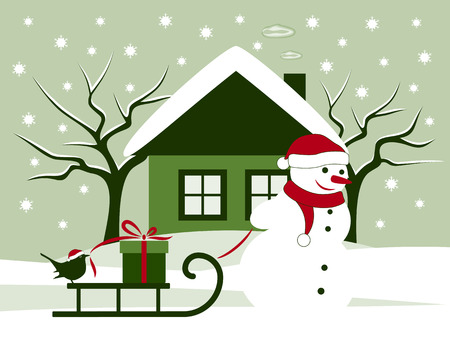 vector snowman pulling sledge with gift and bird Vector