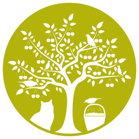 vector cherry tree, basket of cherries, cat and birds isolated on green round Vector
