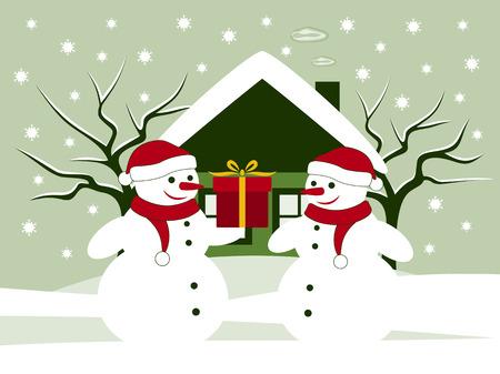 vector pair of snowmen with gift in snowy garden Stock Vector - 24225571