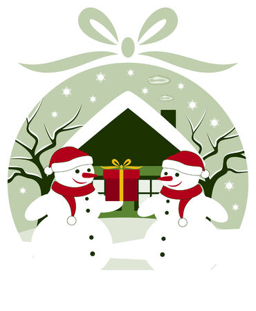 vector pair of snowmen with gift in christmas ball Stock Vector - 24472953