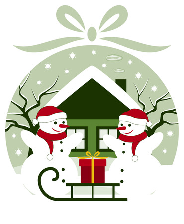 vector pair of snowmen and sledge with gift in christmas ball Vector
