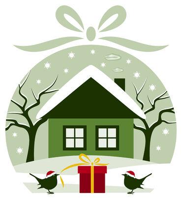 vector pair of birds with gift in snowy garden in christmas ball Stock Vector - 24472956