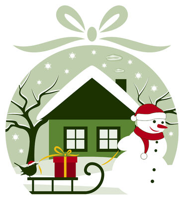 vector snowman pulling sledge with gift and bird in christmas ball Stock Vector - 24472957