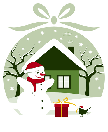 vector snowman and bird with gift in snowy garden in christmas ball Stock Vector - 24472958