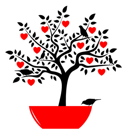 bonsai tree: vector heart tree in pot and birds isolated on white background