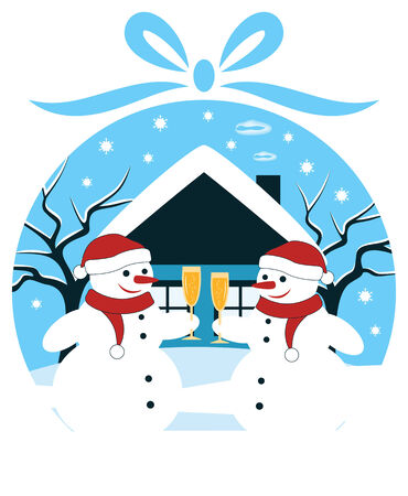 vector pair of snowmen with glasses of champagne in christmas ball Stock Vector - 24472973