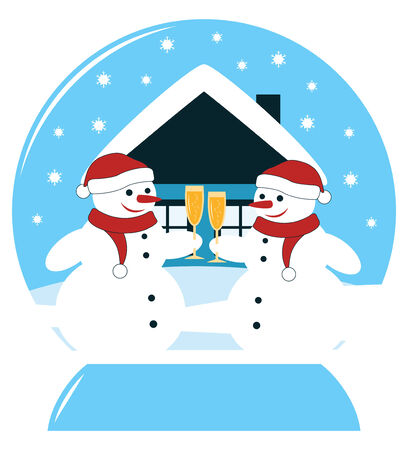 vector snow ball with pair of snowmen with glasses of champagne Stock Vector - 24472976